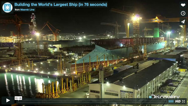 Building the World's Largest Ship (in 76 seconds)